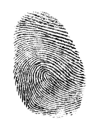 Black Ink Fingerprint Isolated on a White Background.