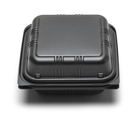 out of the box: Black Plastic Take Out Box Isolated on White Background. Stock Photo