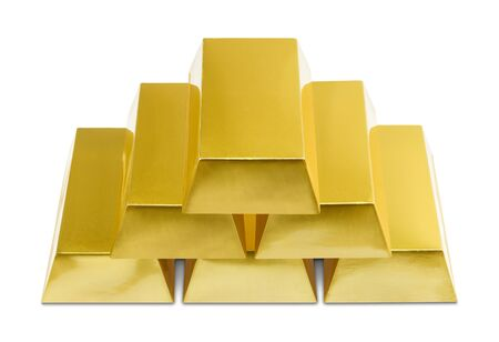 white bars: Pile of Gold Bars on a White Background.