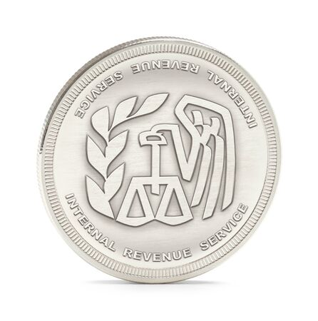 silver service: Internal Revenue Service Silver Coin Isolated on a White Background.