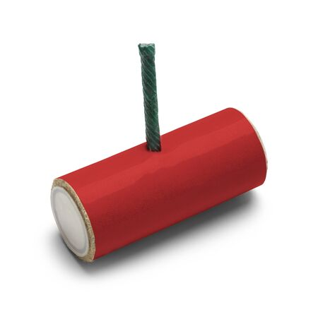 blank bomb: Red M-80 Firecracker with Copy Space Isolated on White Background.