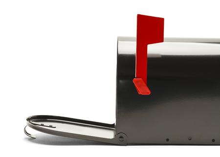 buz�n: Lado del Negro Caja con la puerta abierta aislada en el fondo blanco.