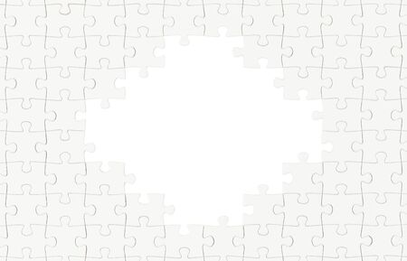 Blank White Puzzle With Hole in Center Isolated on White. Stock Photo
