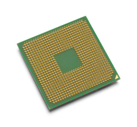 Green and Gold Microprocessor with Copy Space Isolated on White Background. 版權商用圖片