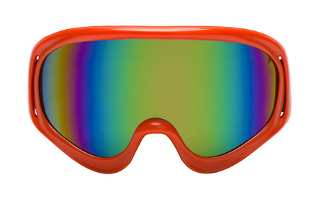 to cut out: Red Googles with Rainbow Reflection Front View Cut Out. Stock Photo