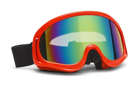 sheen: Red Ski Goggles with a Rainbow Reflective Sheen Isolated on White Background.