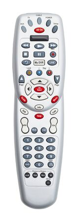 Grey TV Remote Control Isolated on White Background.