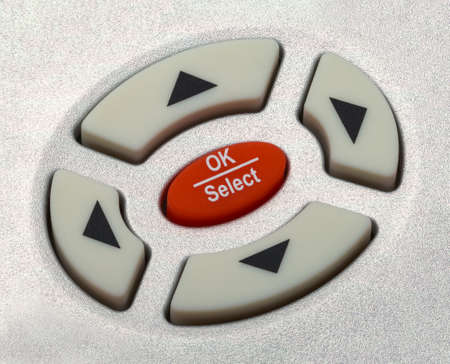 Hasta cerca de Flecha selcetion botones del mando a distancia. Foto de archivo - 56837689