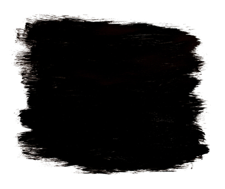 painted background: Black Painted Brush Strokes Patch Isolated on White Background. Stock Photo