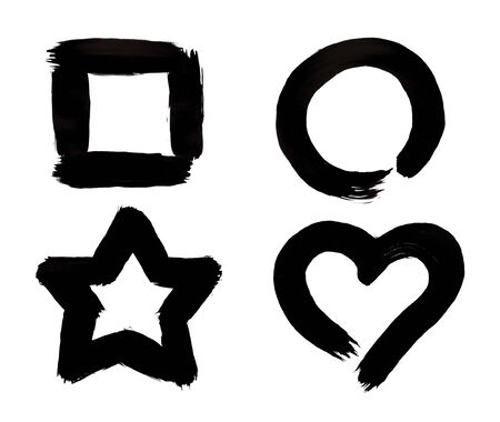 black circle: Square, Circle, Star and Heart Symbols Black Paint Brush Strokes Isolated on White Background. Stock Photo