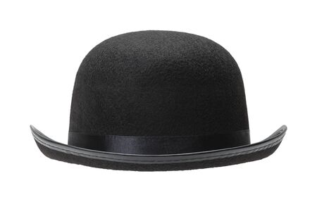 well made: Black Bowler Hat Front View Cut Out on White Background.