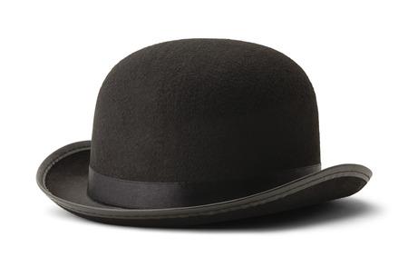 白い背景に分離された黒い山高帽帽子の側面図です。