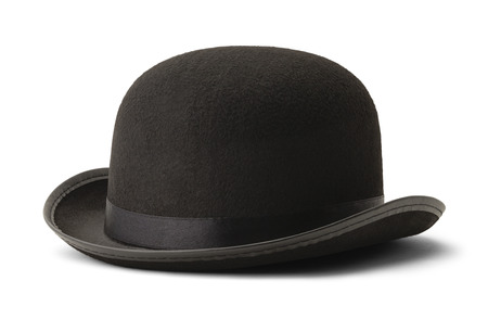 Black Bowler Hat Side View Isolated on White Background. Imagens