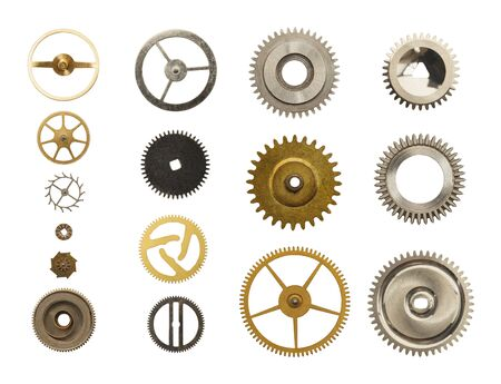 gear: Old Metal Watch Gears Isolated on White Background.