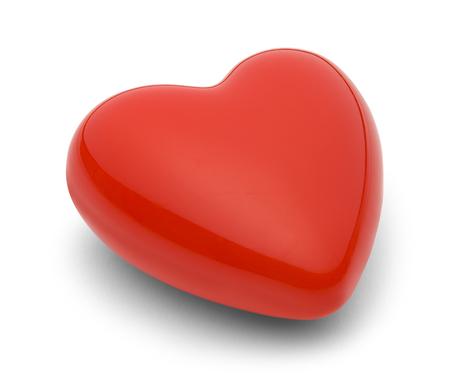 Rood Glanzend hart op een witte achtergrond.