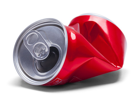 crushed aluminum cans: Empty Smashed Soda Pop Can Isolated on White Background.