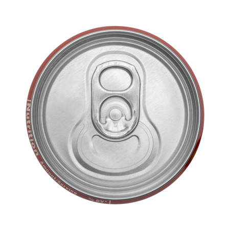 lata de refresco: Top View Of Closed Soda Can Isolated on White Background. Foto de archivo
