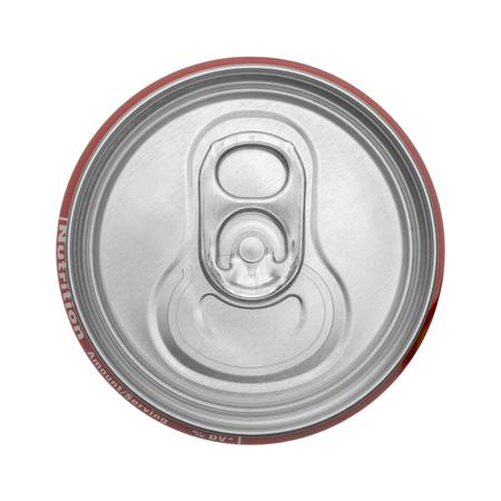 lata de refresco: Vista superior de la lata de refresco cerrado aislado en el fondo blanco.