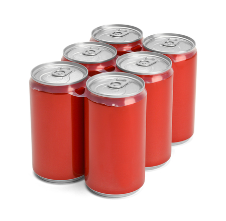 6 pack: Six Pack of Red Soda Cans with Copy Space Isolated on White Background.