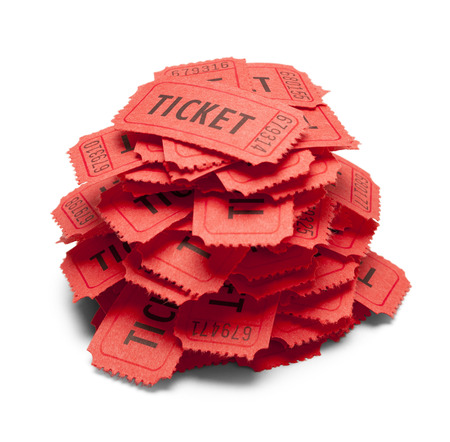 Small Pile of Red Tickets Isolated on White Background.