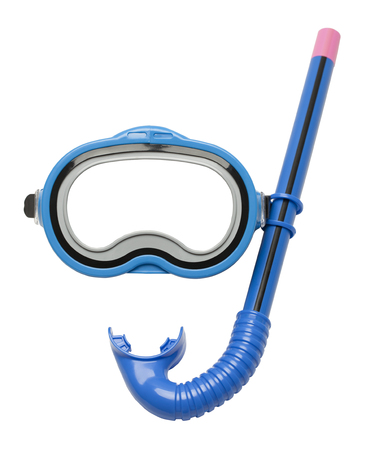 Blue Diving Mask and Snorkel Isolated on White Background. Stockfoto