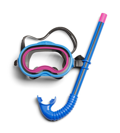 Diving Snorkel and Mask Isolated on White Background.