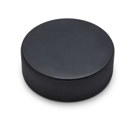 Black Rubber Hocky Puck With Copy Space Isolated on White Background.