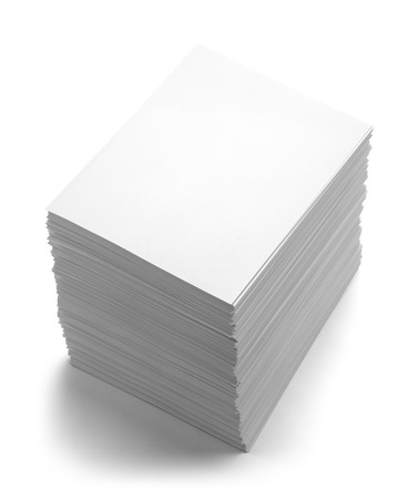 Big Pile of Blank Copy Paper Isolated on White Background.