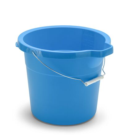 Empty Blue Cleaning Bucket Isolated on White Background.