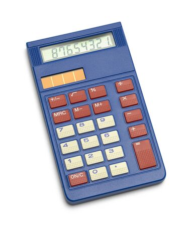 Blue Solar School Calculator Isolated on White Background.