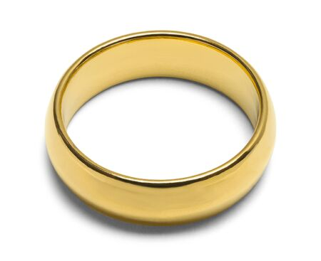 Single Gold Wedding Ring Isolated on White Bckground.