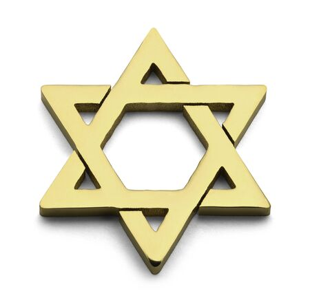 jewish star: Jewish Golden Star of David Isolated on White Background. Stock Photo