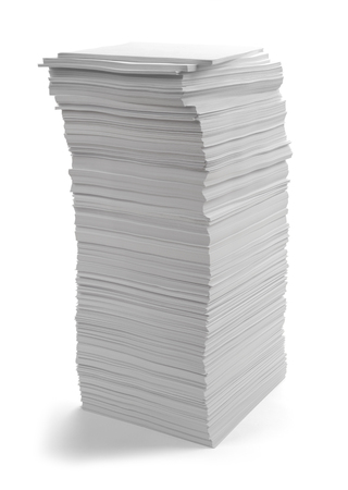 Large Pile of Copy Paper Isolated on White Background. Stock fotó