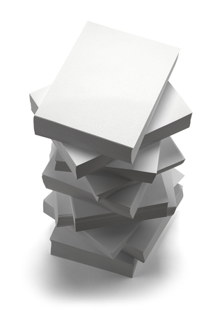 white paper: Large Stack of Paper Isolated on White Background. Stock Photo