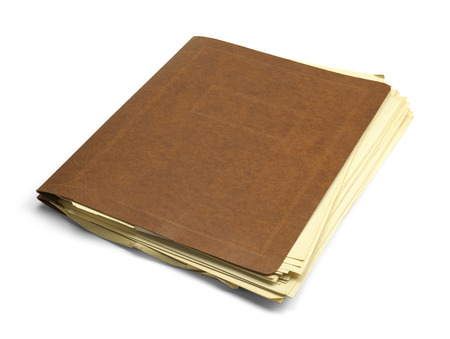 old letters: Vintage Brown Folder with Messy Papers Isolated on White Background. Stock Photo