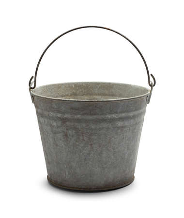 steel bucket: Empty Vintage Steel Bucket Isolated on White Background. Stock Photo