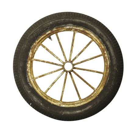 spoke: Antique Worn and Rsuted Rubber Tire and Spoked Rim Isolated on White Background.