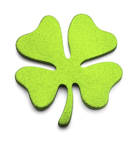 irish culture: Green Metal Four Leaf Clover Isolated on White Background. Stock Photo