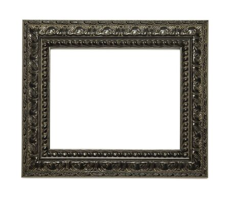 ornate background: Black Ornate Picture Frame Isolated on White Background.