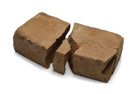 broken brick: Old Broken Red Brick Isolated on White Background.