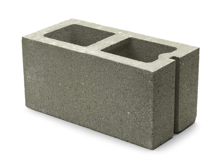 Single Gray Concrete Cinder Block Isolated on White Background. Banque d'images