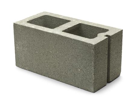 cinder: Single Gray Concrete Cinder Block Isolated on White Background. Stock Photo