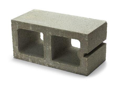 Single Gray Concrete Cinder Block Isolated on White Background. Stock fotó