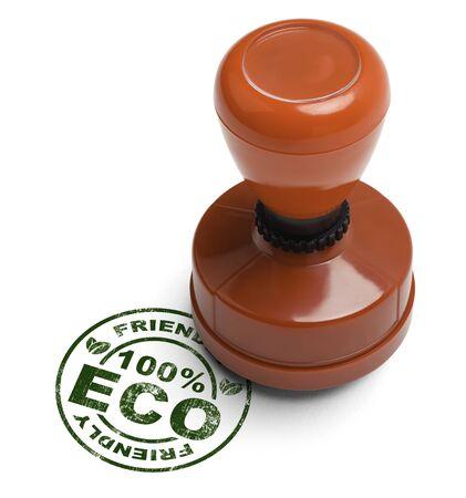 validez: Verde 100% Eco Friendly Stamper aislados sobre fondo blanco. Foto de archivo