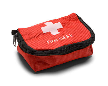 Red First Aid Kit Bag Isolated on White Background.