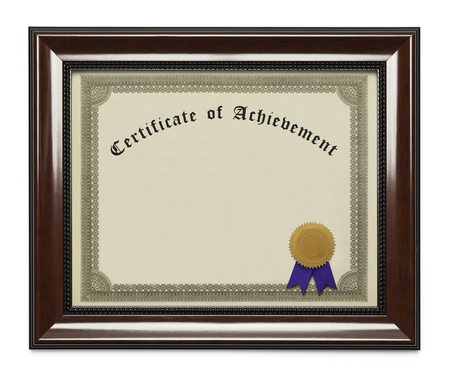white achievement: Framed Certificate of Achievement with Copy Space Isolated on White Background.