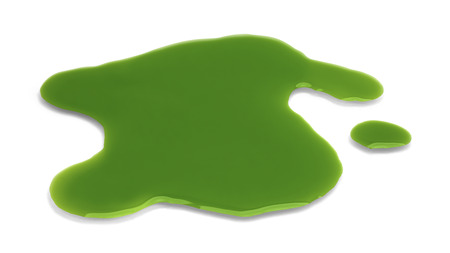 spill: Green Liquid Spill Isolted  on White Background.