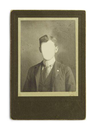 Alte Antike Foto von Mann mit Gesichtsausschnitte getrennt auf weißem Hintergrund.