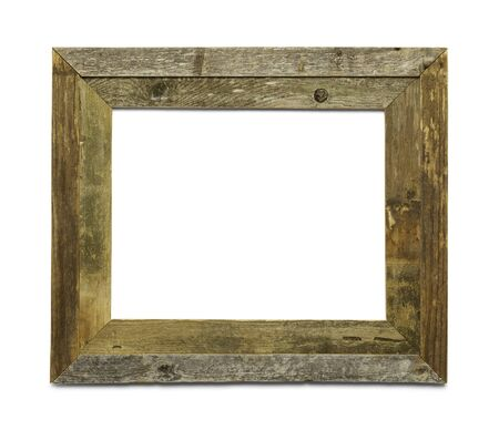 western: Old Wooden Picture Frame Isolated on White Background.