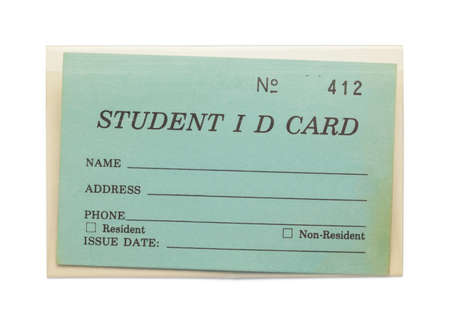 Aged Student ID Card with Copy Space Isolated on White Background. Imagens